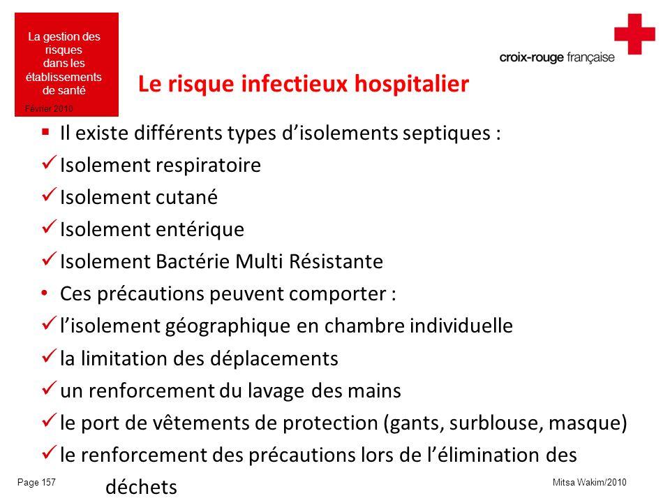 Mitsa Wakim/2010 La gestion des risques dans les établissements de santé Février 2010 Le risque infectieux hospitalier Il existe différents types diso