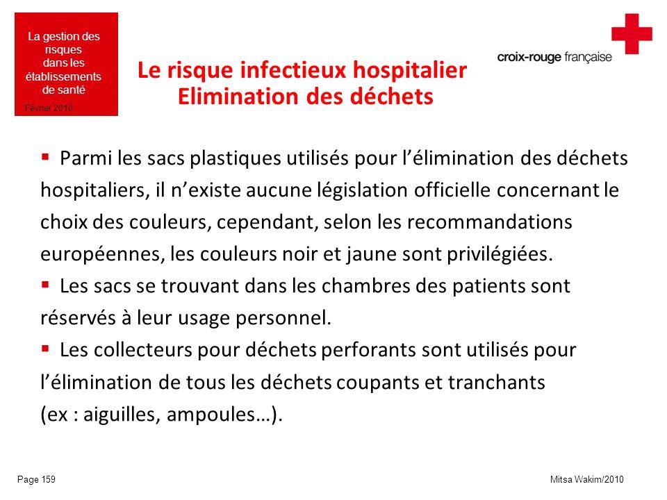 Mitsa Wakim/2010 La gestion des risques dans les établissements de santé Février 2010 Le risque infectieux hospitalier Elimination des déchets Parmi l