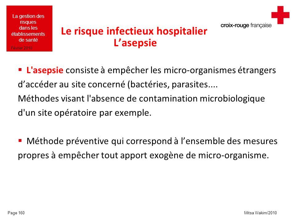 Mitsa Wakim/2010 La gestion des risques dans les établissements de santé Février 2010 Le risque infectieux hospitalier Lasepsie L'asepsie consiste à e