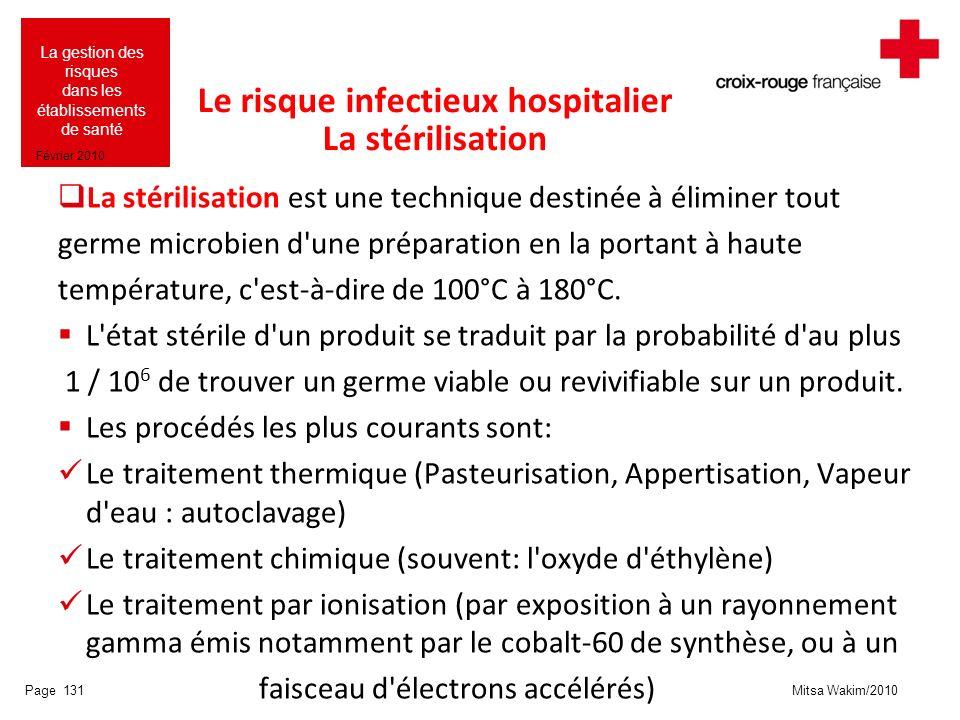 Mitsa Wakim/2010 La gestion des risques dans les établissements de santé Février 2010 Le risque infectieux hospitalier La stérilisation La stérilisati