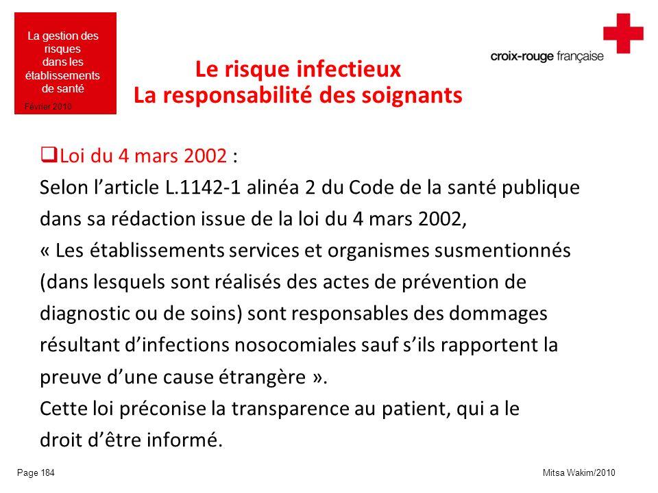 Mitsa Wakim/2010 La gestion des risques dans les établissements de santé Février 2010 Le risque infectieux La responsabilité des soignants Loi du 4 ma