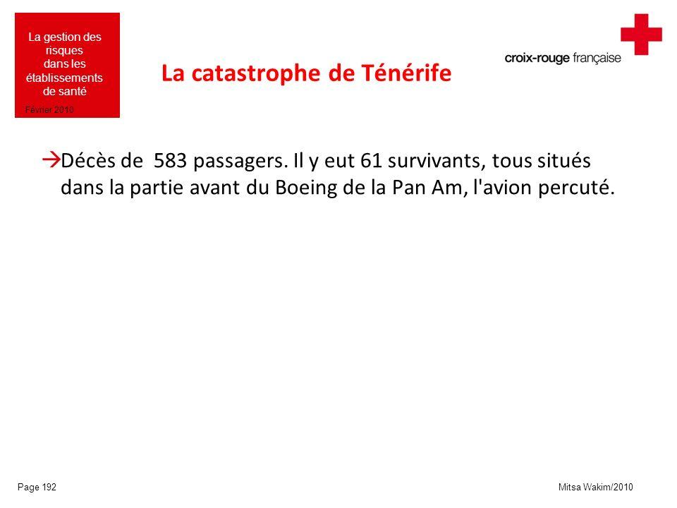 Mitsa Wakim/2010 La gestion des risques dans les établissements de santé Février 2010 La catastrophe de Ténérife Décès de 583 passagers. Il y eut 61 s