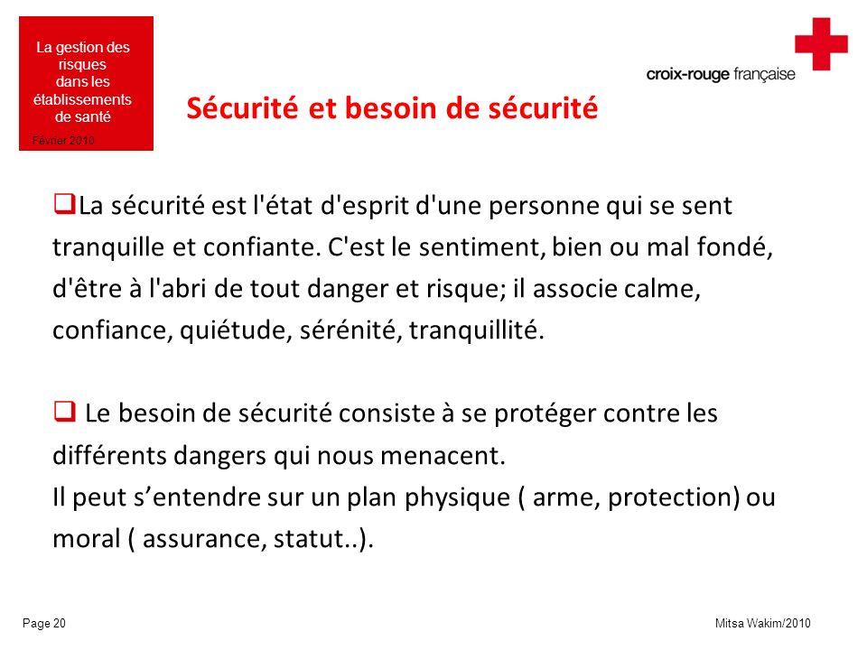 Mitsa Wakim/2010 La gestion des risques dans les établissements de santé Février 2010 Sécurité et besoin de sécurité La sécurité est l'état d'esprit d