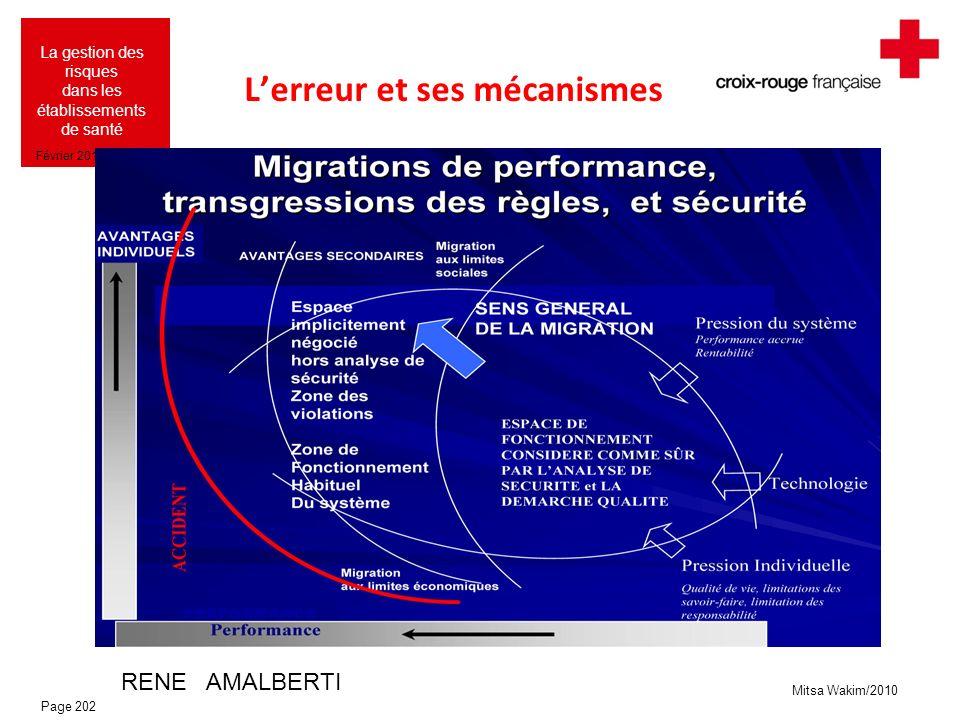 Mitsa Wakim/2010 La gestion des risques dans les établissements de santé Février 2010 Lerreur et ses mécanismes RENE AMALBERTI Page 202