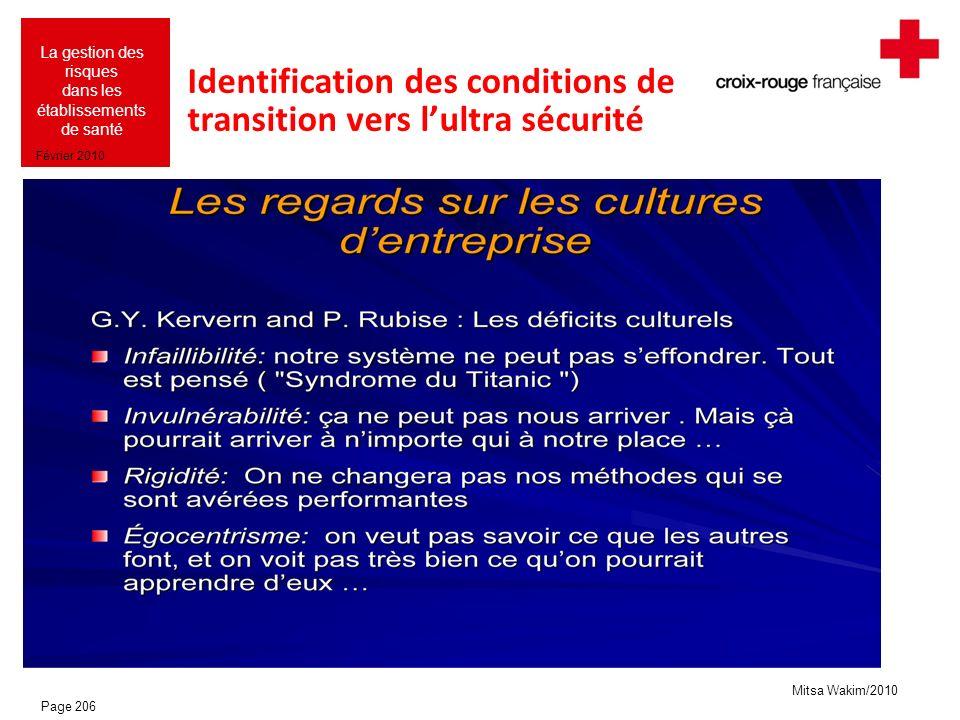Mitsa Wakim/2010 La gestion des risques dans les établissements de santé Février 2010 Identification des conditions de transition vers lultra sécurité