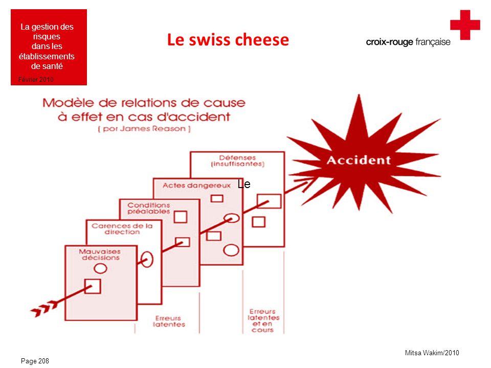 Mitsa Wakim/2010 La gestion des risques dans les établissements de santé Février 2010 Le swiss cheese Le Page 208
