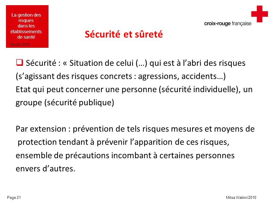 Mitsa Wakim/2010 La gestion des risques dans les établissements de santé Février 2010 Sécurité et sûreté Sécurité : « Situation de celui (…) qui est à