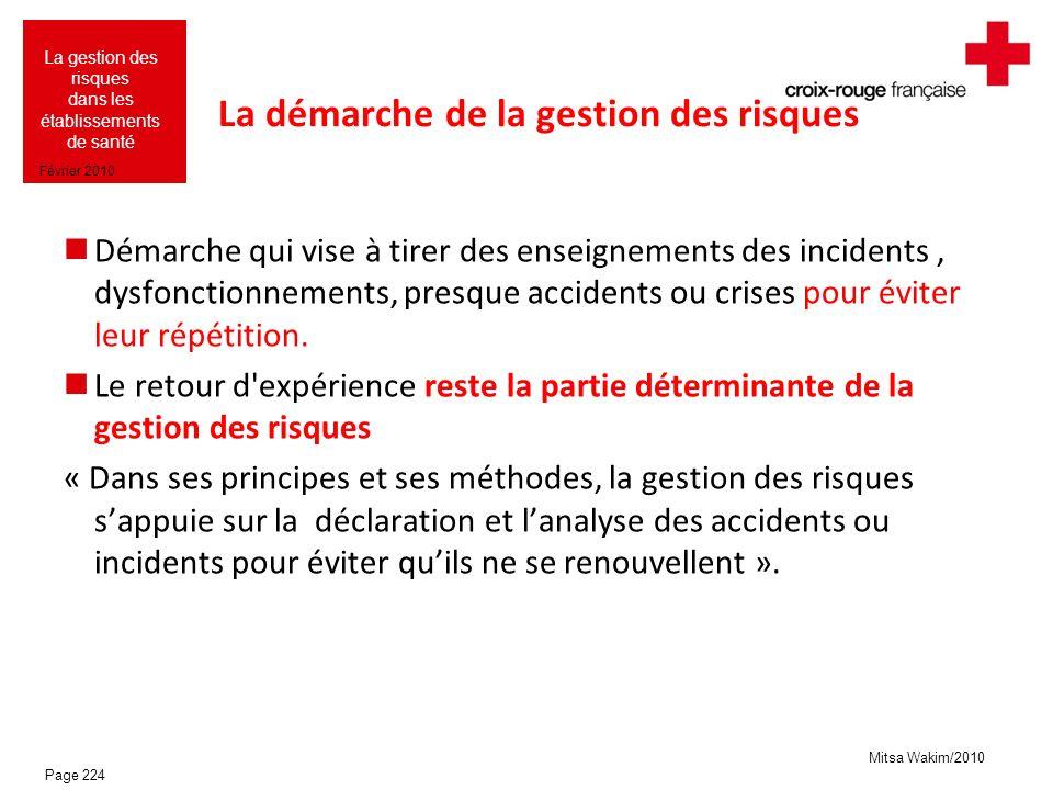 Mitsa Wakim/2010 La gestion des risques dans les établissements de santé Février 2010 La démarche de la gestion des risques Démarche qui vise à tirer