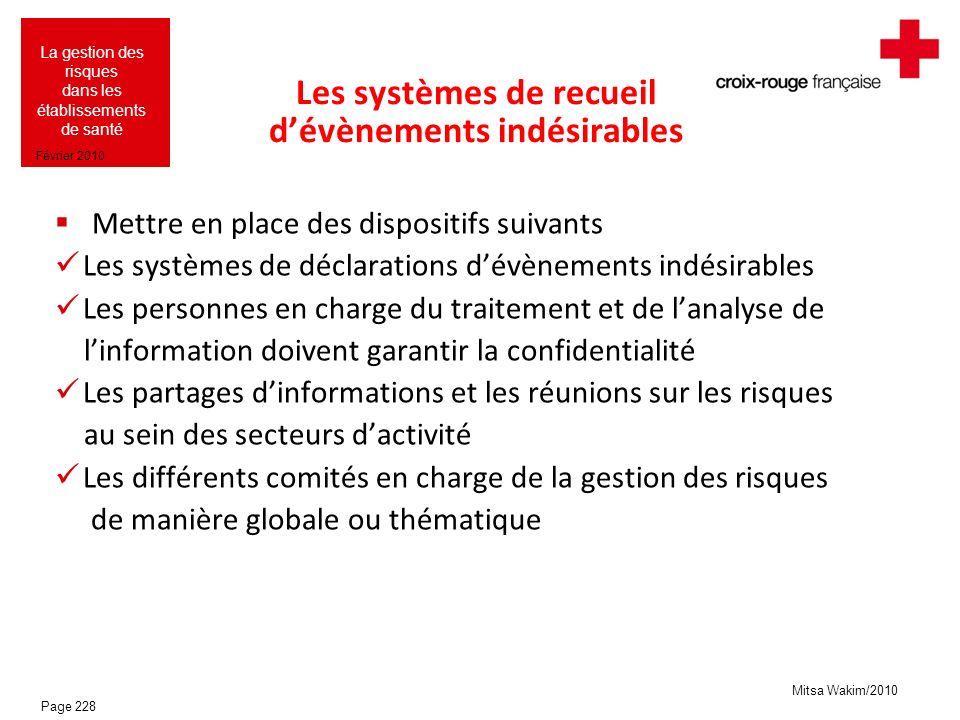 Mitsa Wakim/2010 La gestion des risques dans les établissements de santé Février 2010 Les systèmes de recueil dévènements indésirables Mettre en place