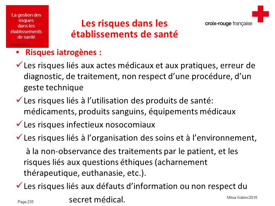 Mitsa Wakim/2010 La gestion des risques dans les établissements de santé Février 2010 Les risques dans les établissements de santé Risques iatrogènes