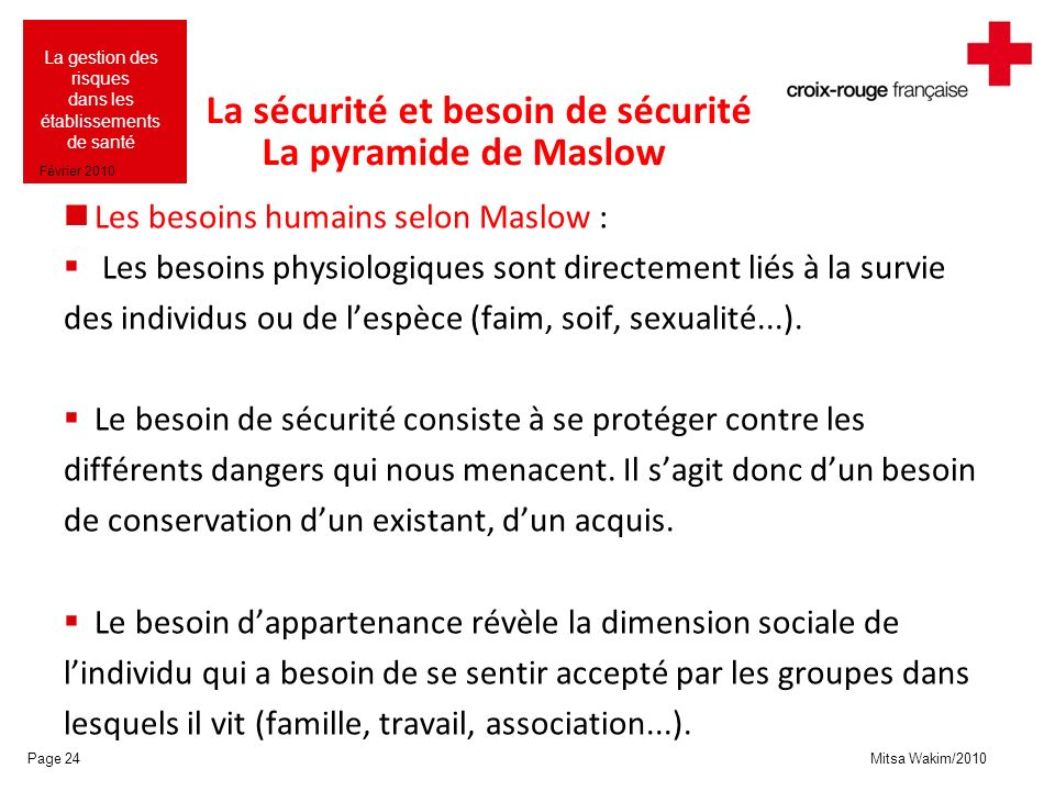 Mitsa Wakim/2010 La gestion des risques dans les établissements de santé Février 2010 La sécurité et besoin de sécurité La pyramide de Maslow Les beso