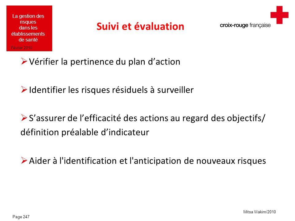 Mitsa Wakim/2010 La gestion des risques dans les établissements de santé Février 2010 Suivi et évaluation Vérifier la pertinence du plan daction Ident