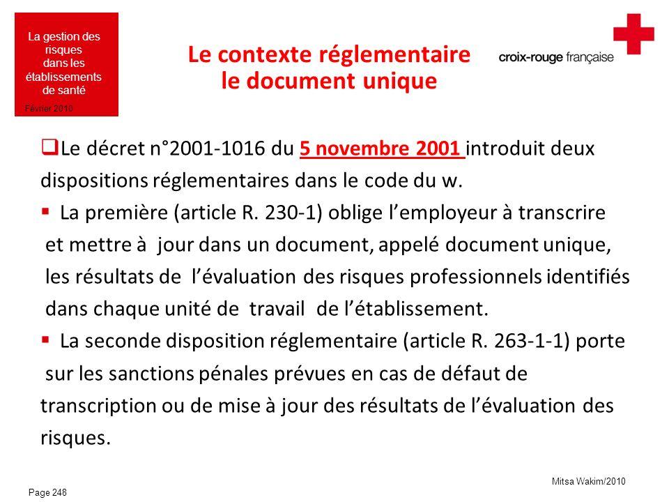 Mitsa Wakim/2010 La gestion des risques dans les établissements de santé Février 2010 Le contexte réglementaire le document unique Le décret n°2001-10