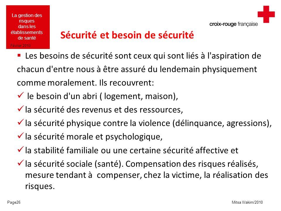 Mitsa Wakim/2010 La gestion des risques dans les établissements de santé Février 2010 Sécurité et besoin de sécurité Les besoins de sécurité sont ceux