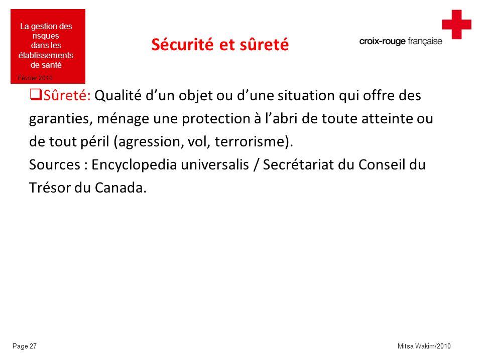 Mitsa Wakim/2010 La gestion des risques dans les établissements de santé Février 2010 Sécurité et sûreté Sûreté: Qualité dun objet ou dune situation q