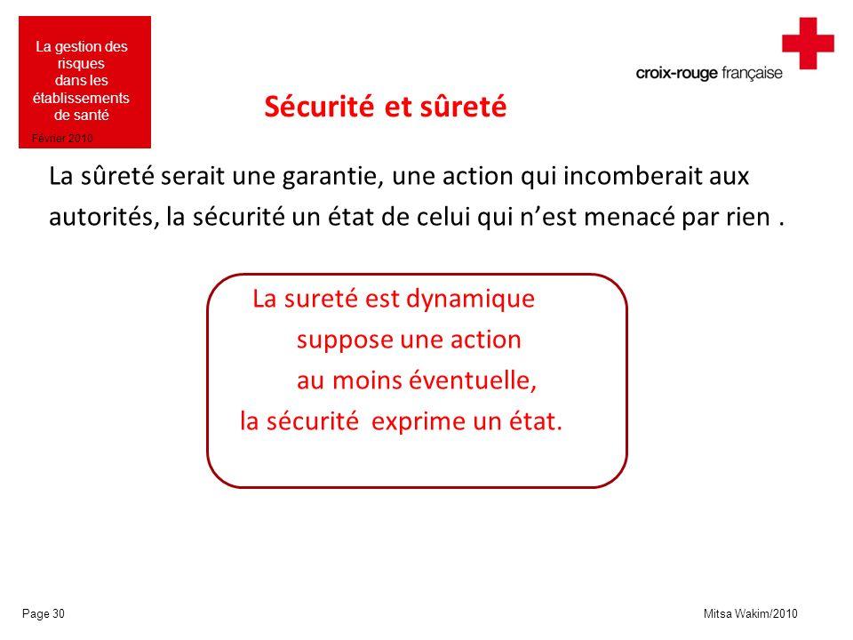 Mitsa Wakim/2010 La gestion des risques dans les établissements de santé Février 2010 Sécurité et sûreté La sûreté serait une garantie, une action qui