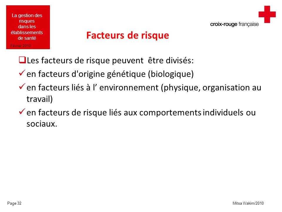 Mitsa Wakim/2010 La gestion des risques dans les établissements de santé Février 2010 Facteurs de risque Les facteurs de risque peuvent être divisés: