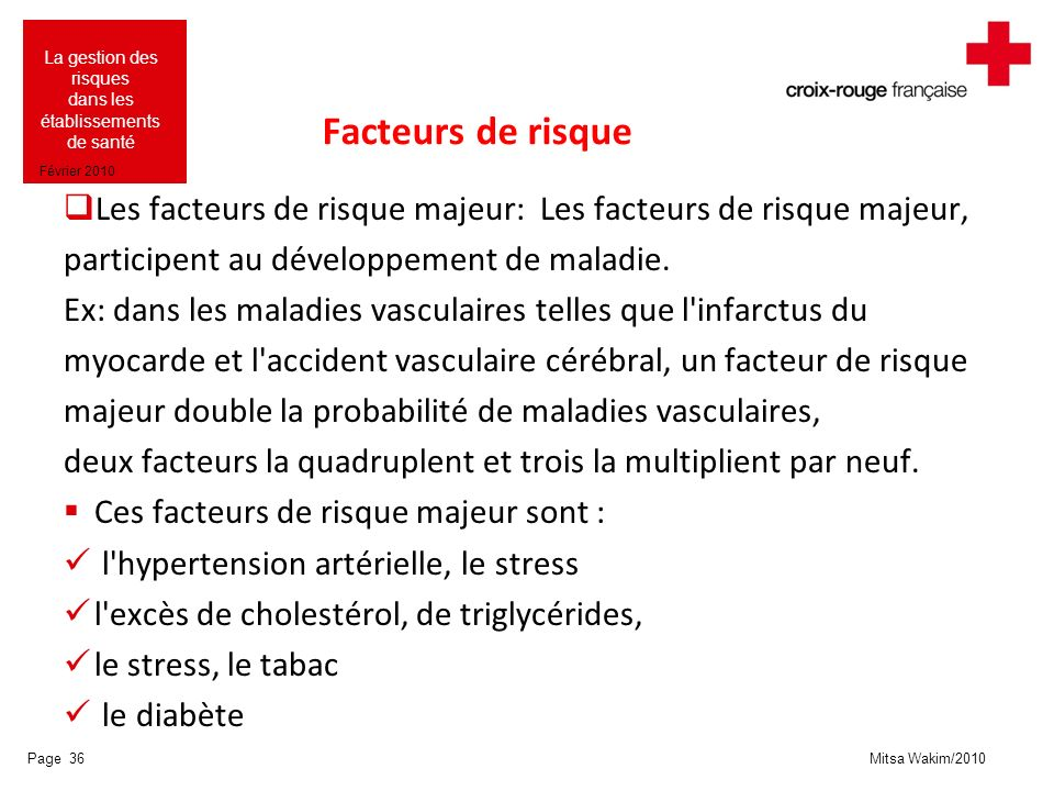 Mitsa Wakim/2010 La gestion des risques dans les établissements de santé Février 2010 Facteurs de risque Les facteurs de risque majeur: Les facteurs d