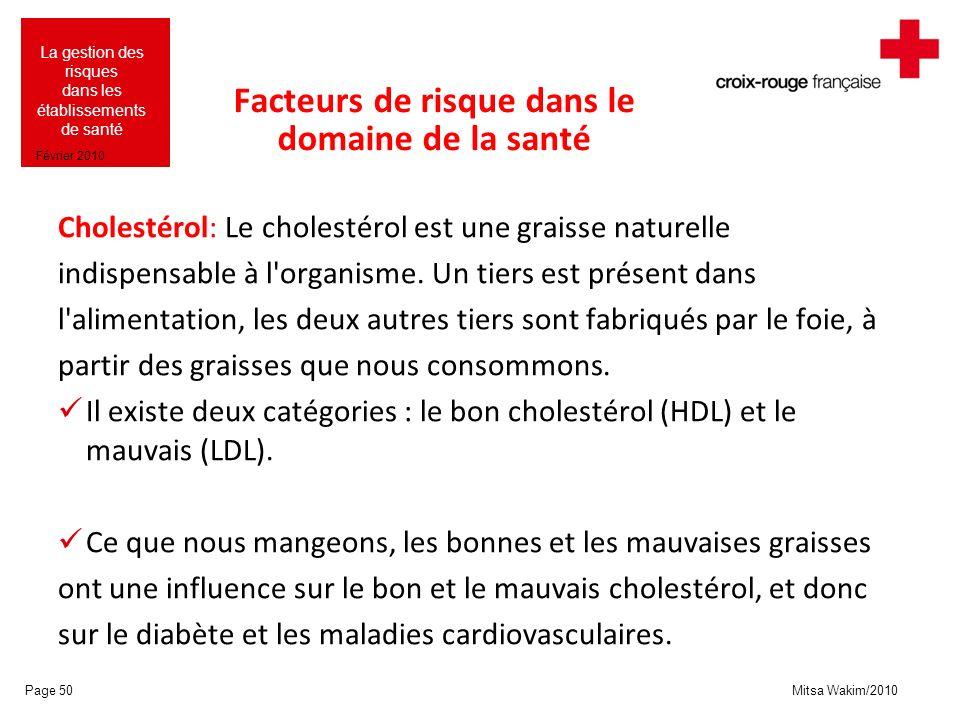Mitsa Wakim/2010 La gestion des risques dans les établissements de santé Février 2010 Facteurs de risque dans le domaine de la santé Cholestérol: Le c