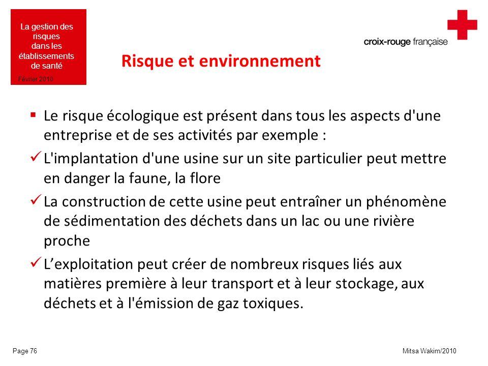Mitsa Wakim/2010 La gestion des risques dans les établissements de santé Février 2010 Risque et environnement Le risque écologique est présent dans to