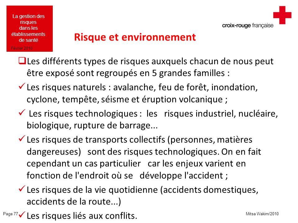 Mitsa Wakim/2010 La gestion des risques dans les établissements de santé Février 2010 Risque et environnement Les différents types de risques auxquels