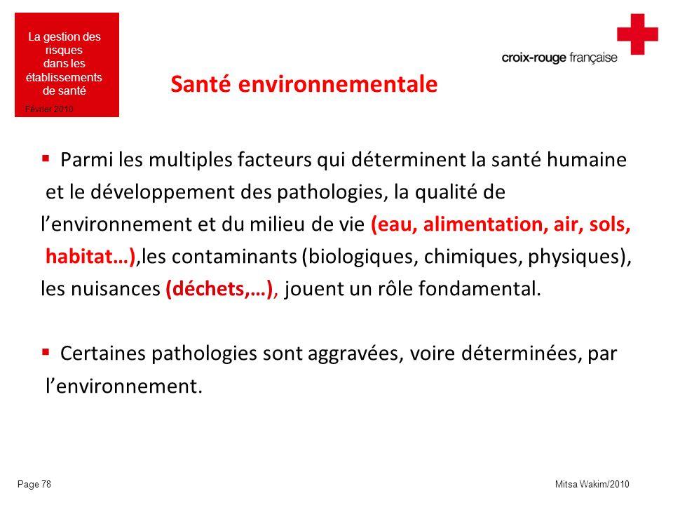 Mitsa Wakim/2010 La gestion des risques dans les établissements de santé Février 2010 Santé environnementale Parmi les multiples facteurs qui détermin
