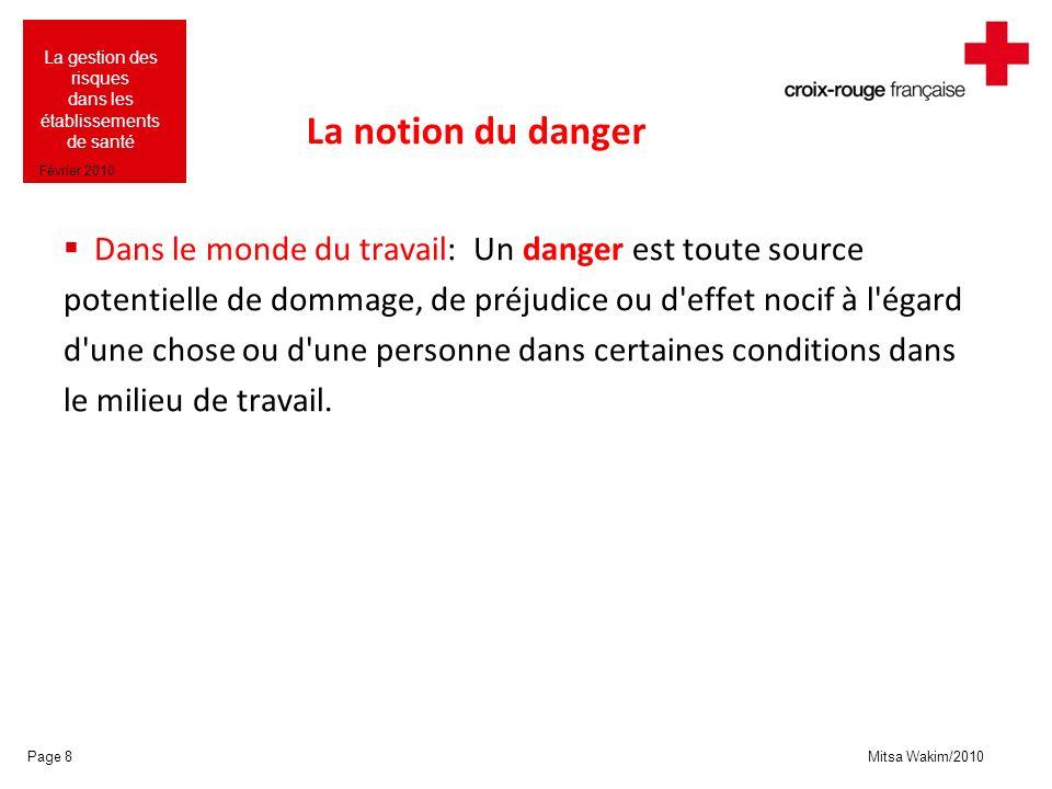 Mitsa Wakim/2010 La gestion des risques dans les établissements de santé Février 2010 La notion du danger Dans le monde du travail: Un danger est tout