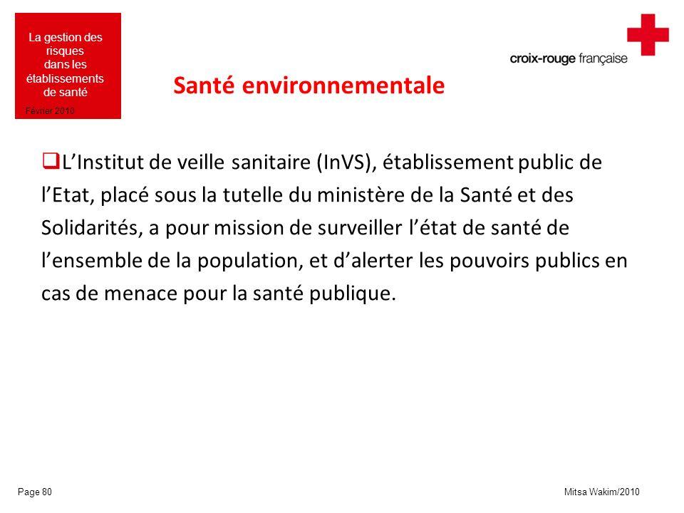 Mitsa Wakim/2010 La gestion des risques dans les établissements de santé Février 2010 Santé environnementale LInstitut de veille sanitaire (InVS), éta