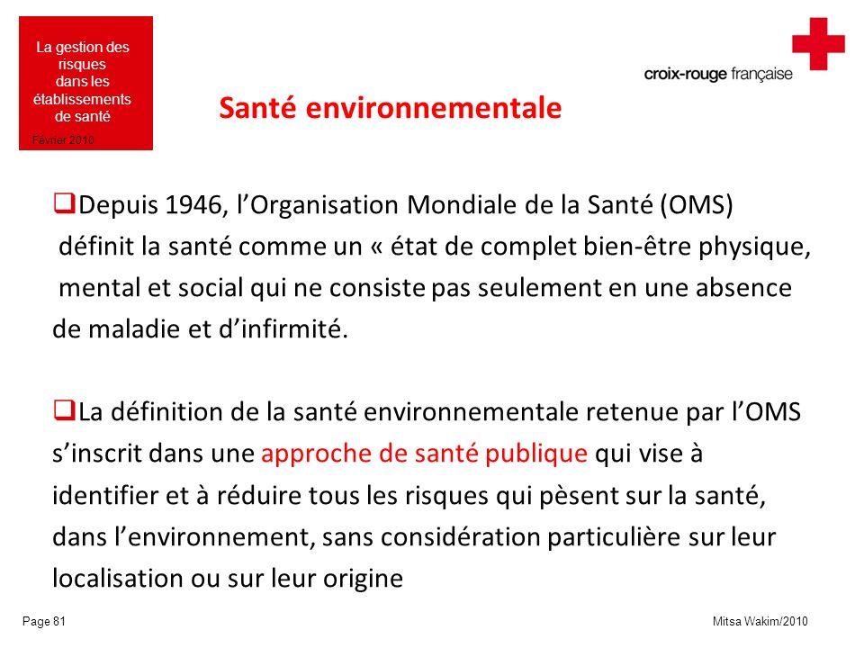 Mitsa Wakim/2010 La gestion des risques dans les établissements de santé Février 2010 Santé environnementale Depuis 1946, lOrganisation Mondiale de la
