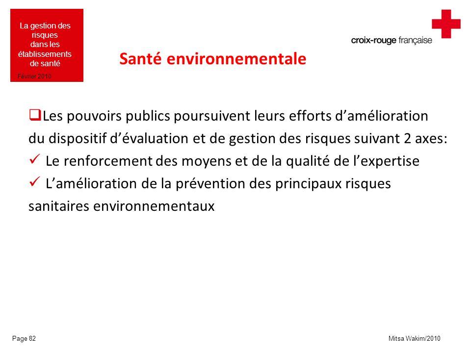 Mitsa Wakim/2010 La gestion des risques dans les établissements de santé Février 2010 Santé environnementale Les pouvoirs publics poursuivent leurs ef
