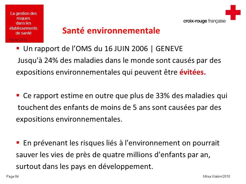Mitsa Wakim/2010 La gestion des risques dans les établissements de santé Février 2010 Santé environnementale Un rapport de lOMS du 16 JUIN 2006 | GENE