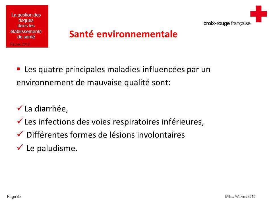 Mitsa Wakim/2010 La gestion des risques dans les établissements de santé Février 2010 Santé environnementale Les quatre principales maladies influencé