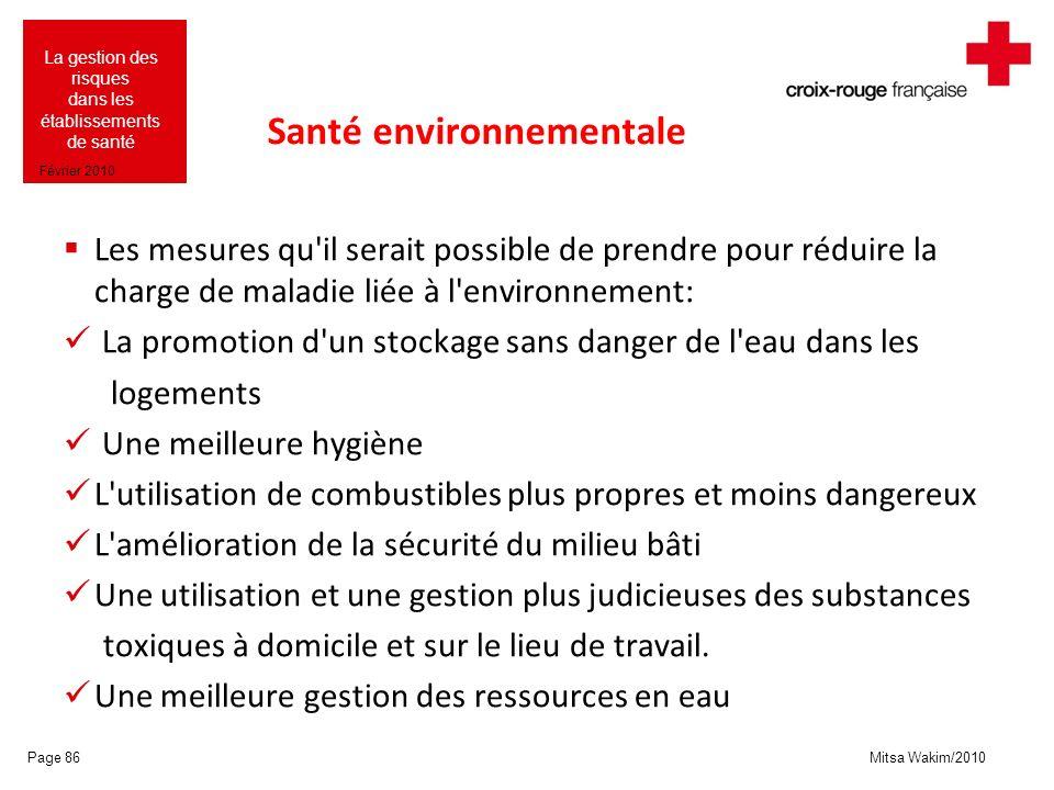 Mitsa Wakim/2010 La gestion des risques dans les établissements de santé Février 2010 Santé environnementale Les mesures qu'il serait possible de pren