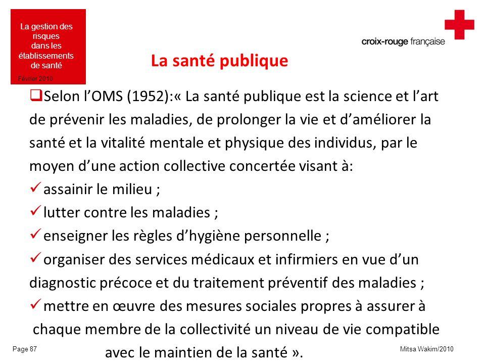 Mitsa Wakim/2010 La gestion des risques dans les établissements de santé Février 2010 La santé publique Selon lOMS (1952):« La santé publique est la s
