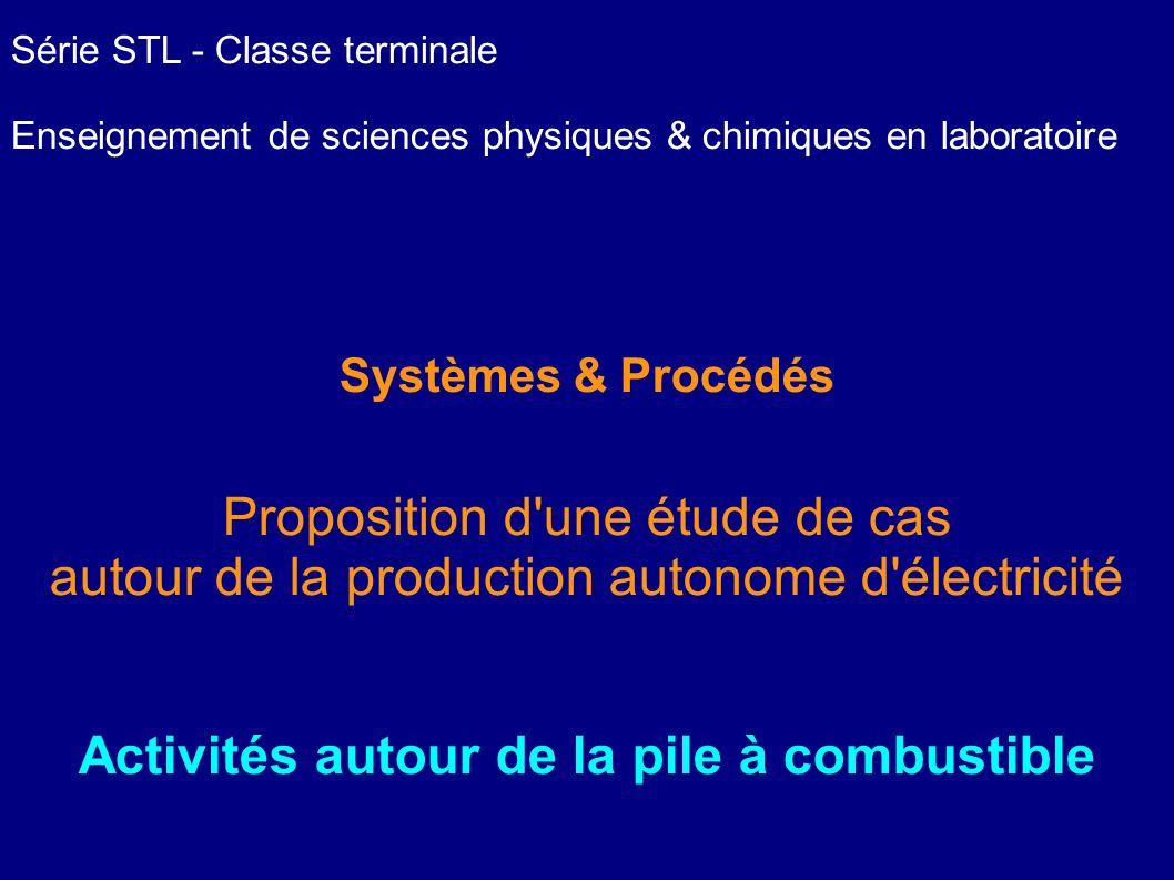 Série STL - Classe terminale Enseignement de sciences physiques & chimiques en laboratoire Systèmes & Procédés Proposition d'une étude de cas autour d
