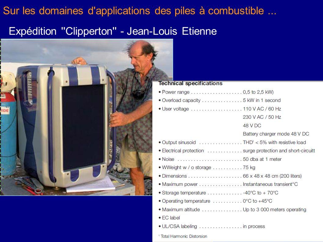 Sur les domaines d'applications des piles à combustible... Expédition ''Clipperton'' - Jean-Louis Etienne