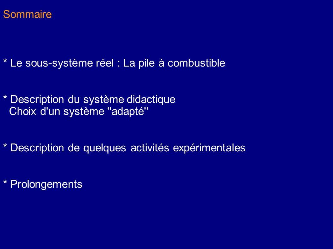 Sommaire * Le sous-système réel : La pile à combustible * Description du système didactique Choix d'un système ''adapté'' * Description de quelques ac