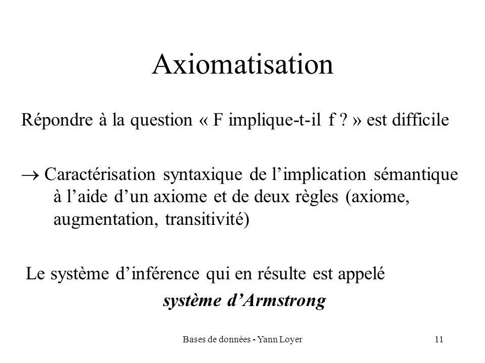 Bases de données - Yann Loyer11 Axiomatisation Répondre à la question « F implique-t-il f ? » est difficile Caractérisation syntaxique de limplication
