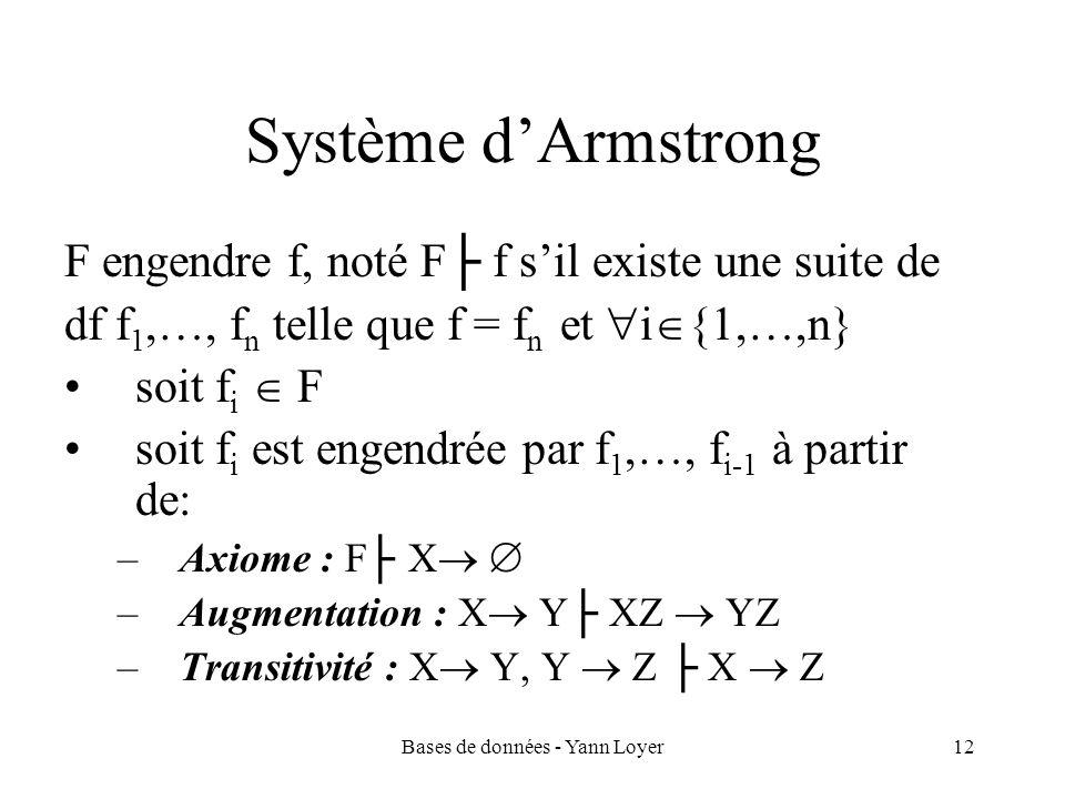 Bases de données - Yann Loyer12 Système dArmstrong F engendre f, noté F f sil existe une suite de df f 1,…, f n telle que f = f n et i {1,…,n} soit f