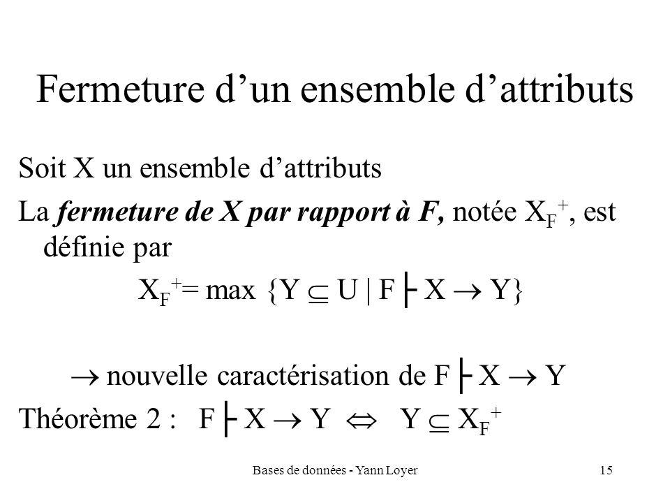 Bases de données - Yann Loyer15 Fermeture dun ensemble dattributs Soit X un ensemble dattributs La fermeture de X par rapport à F, notée X F +, est dé