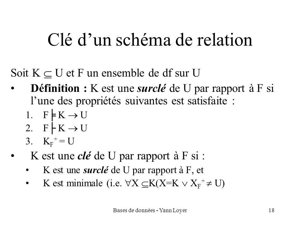 Bases de données - Yann Loyer18 Clé dun schéma de relation Soit K U et F un ensemble de df sur U Définition : K est une surclé de U par rapport à F si