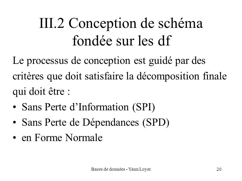 Bases de données - Yann Loyer20 III.2 Conception de schéma fondée sur les df Le processus de conception est guidé par des critères que doit satisfaire