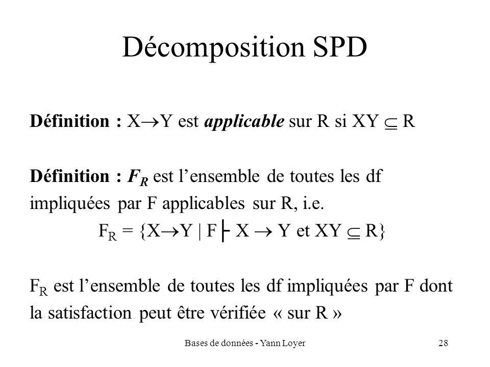 Bases de données - Yann Loyer28 Décomposition SPD Définition : X Y est applicable sur R si XY R Définition : F R est lensemble de toutes les df impliq