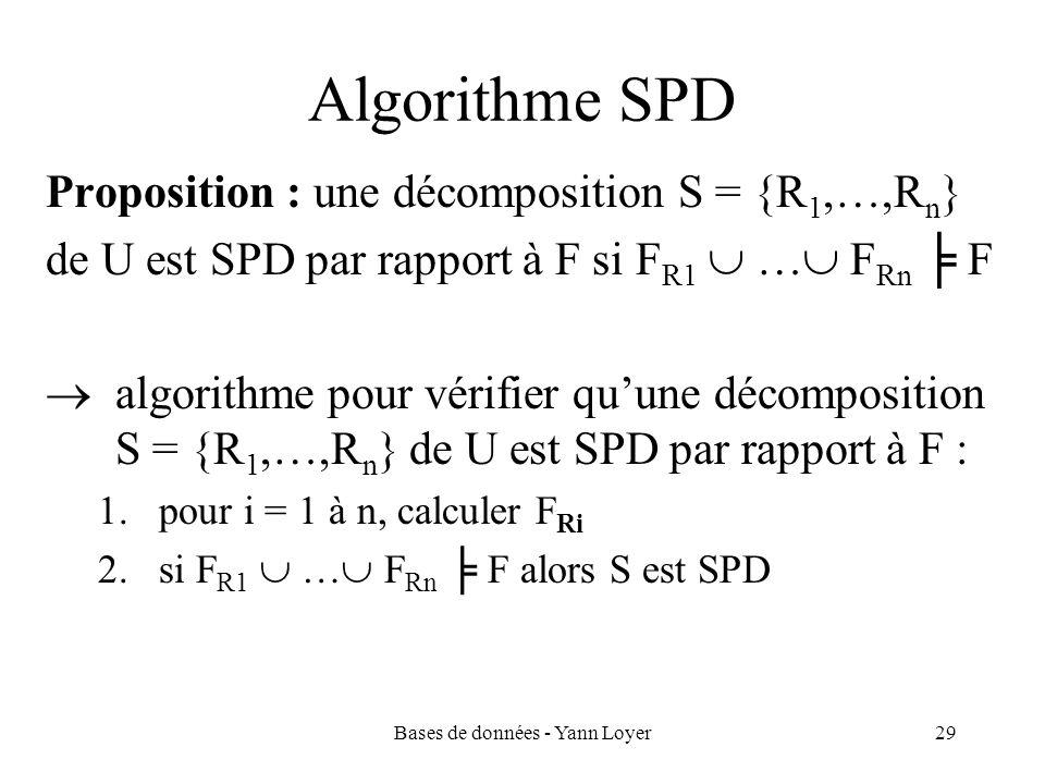 Bases de données - Yann Loyer29 Algorithme SPD Proposition : une décomposition S = {R 1,…,R n } de U est SPD par rapport à F si F R1 … F Rn F algorith