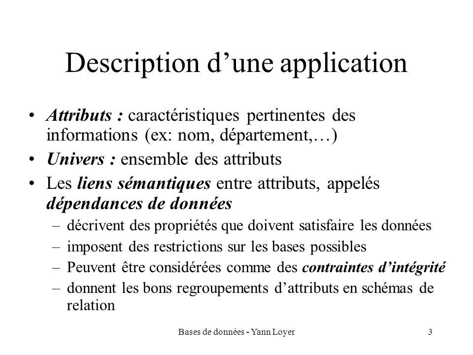 Bases de données - Yann Loyer3 Description dune application Attributs : caractéristiques pertinentes des informations (ex: nom, département,…) Univers