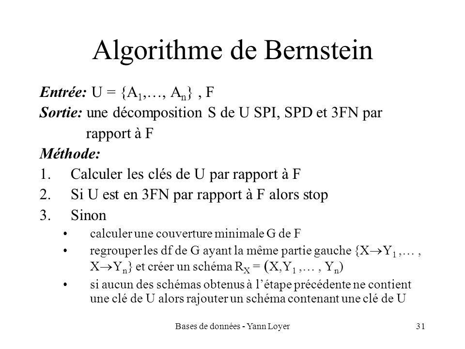Bases de données - Yann Loyer31 Algorithme de Bernstein Entrée: U = {A 1,…, A n }, F Sortie: une décomposition S de U SPI, SPD et 3FN par rapport à F