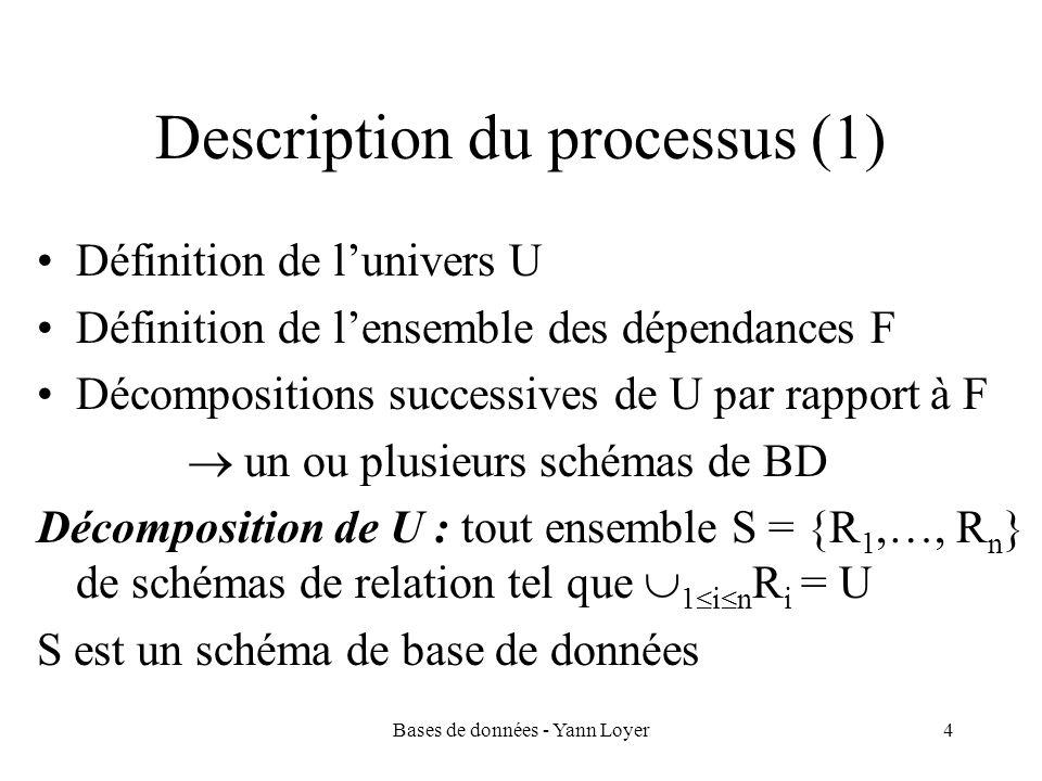 Bases de données - Yann Loyer5 Description du processus (2) Le processus est dirigé par certains critères que doivent respecter les décompositions finales : –Économie de stockage des données –Économie dans le traitement des mises à jours –Forme appropriée pour les dépendances dans chaque schéma de relation Nous considérerons un type particulier de dépendances appelées dépendances fonctionnelles –II.1) aspects essentiels de dépendances fonctionnelles (df) –II.2) processus de conception de schéma fondé sur les df