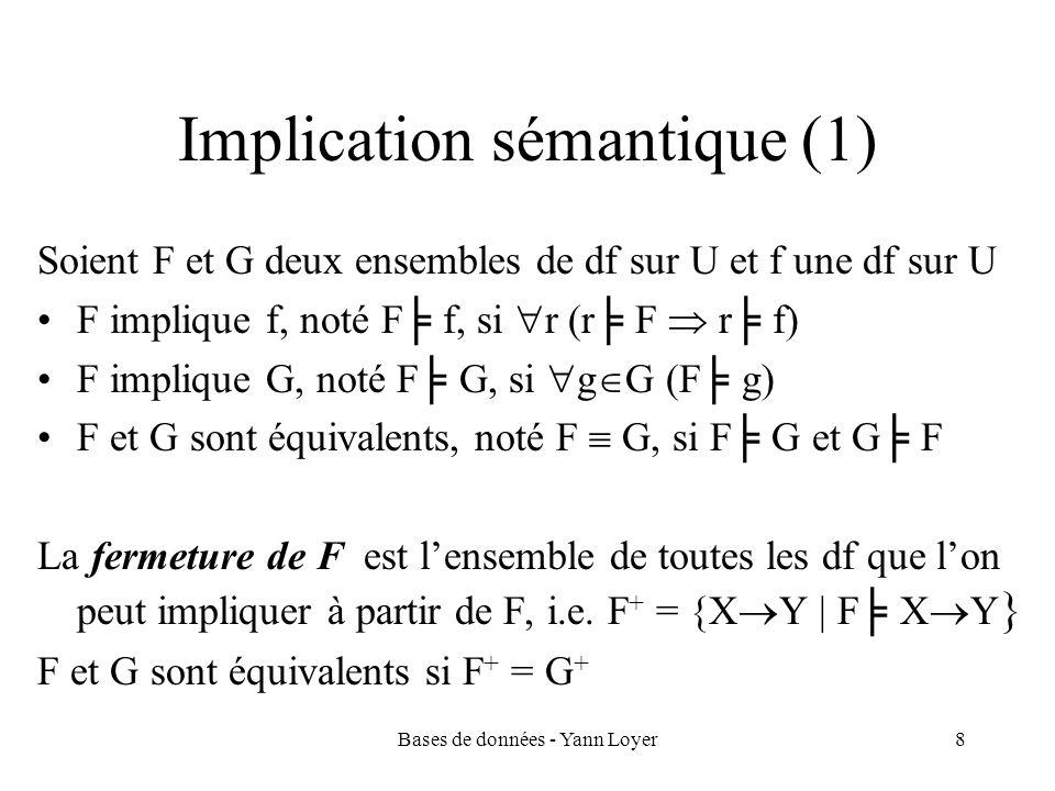 Bases de données - Yann Loyer29 Algorithme SPD Proposition : une décomposition S = {R 1,…,R n } de U est SPD par rapport à F si F R1 … F Rn F algorithme pour vérifier quune décomposition S = {R 1,…,R n } de U est SPD par rapport à F : 1.pour i = 1 à n, calculer F Ri 2.si F R1 … F Rn F alors S est SPD