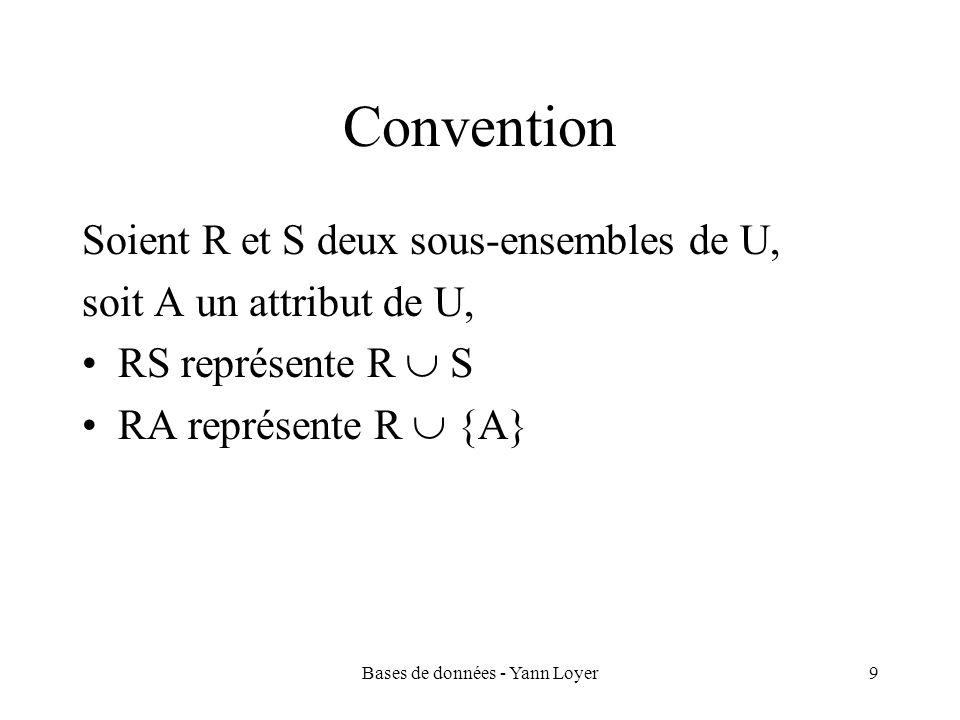 Bases de données - Yann Loyer40 Types dassociation Type dassociation: couple déterminé par le nombre doccurrences mises en jeu de part et dautre dune association binaire Association un à un (1:1) : si à une occurrence de lentité E1 est associée au plus occurrence de lentité E2 et réciproquement (exemple : « voiture » « correspond à » « carte grise ») Association un à plusieurs (1:n) : si à une occurrence de lentité E1 est associée au plus une occurrence de lentité E2, mais quà une occurrence de lentité E2 peuvent être associées plusieurs occurrences de lentité E1 (ex : « musée » « situé dans » « ville ») Association plusieurs à plusieurs (n:m) : si à une occurrence de lentité E1 peuvent être associées plusieurs occurrences de lentité E2 et réciproquement (ex : « personne » « possède » « voiture »)