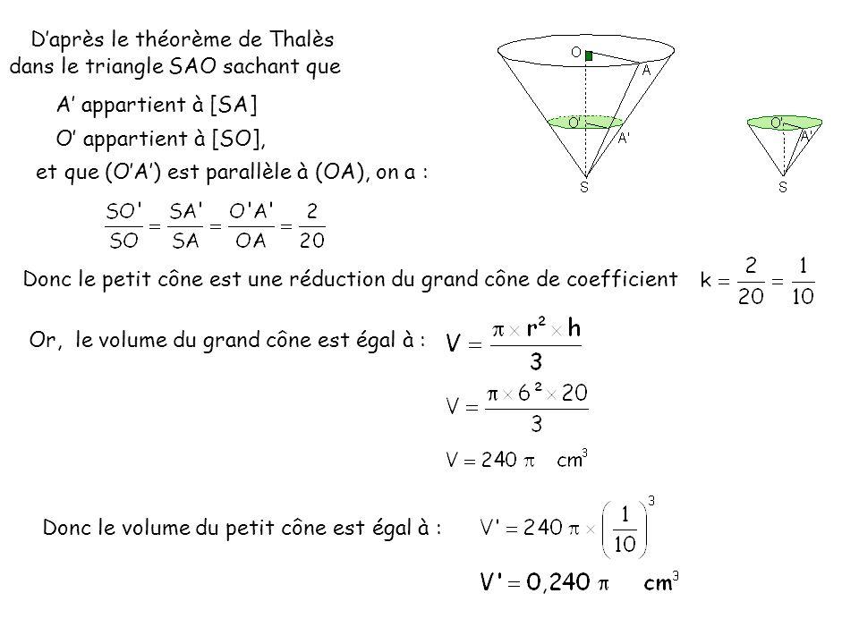 Daprès le théorème de Thalès dans le triangle SAO sachant que O appartient à [SO], A appartient à [SA] et que (OA) est parallèle à (OA), on a : Donc le petit cône est une réduction du grand cône de coefficient Or, le volume du grand cône est égal à : Donc le volume du petit cône est égal à :